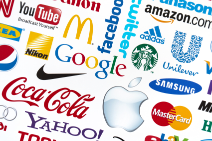 Kiev, Ukraine - February 21, 2012 - A logotype collection of well-known world brand's printed on paper. Include Google, Mc'Donald's, Nike, Coca-Cola, Facebook, Apple, Yahoo, Nikon, YouTube, Adidas, Amazon.com, Unilever, Twitter, Mastercard, Samsung, Canon and Starbuck's logos.