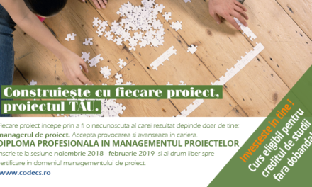 Noiembrie 2018 – Februarie 2019:  CODECS – Diploma Profesionala in Managementul Proiectelor